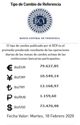 valor de referencia BCV
